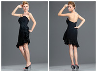 Reference Images Sweetheart Chiffon Cheap 2014 Free Shipping Sweetheart Black Chiffon Flower Knee-length Prom dresses Sexy cocktail dresses Elegant Dresses 2013 evening dresses