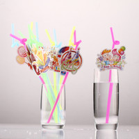 Disposable gadgets gifts - Multi color Plastic Drinking Straw Birthday Style Funny Bar Straw Kids Gift Party Gadgets