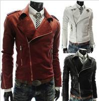 Wholesale 2016 New Men s Slim Lapel Slanting Zipper Leather Jacket coat overcoat High quality color M XL