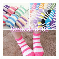 Wholesale Lady Girl Winter Lounge Slipper Socks Coral Fleece Fluffy Warm Soft Stripe Bed Hosiery
