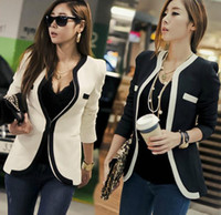 Wholesale 2016 new Fashion women split joint White Black Colors Slim Ladies Blazer Jacket Button suit coat overcoat S XL BAF2704