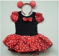 Wholesale Minnie dresses Cute girls Dots Bow dresses kids dancing dress with Minnie Headband children dresses garment