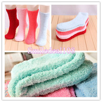 Wholesale Fashion Winter Lady Girl Lounge Slipper Socks Fleece Fluffy Warmer Soft Bed Hosiery Solid