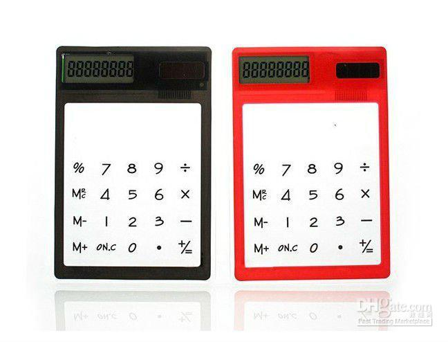 Wholesale - FREE SHIPPING transparent digital counter,solar calculator,touch screen counter,8 colors,12*8*0.5cm