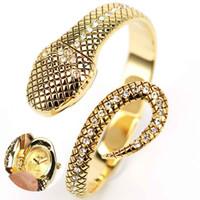 Wholesale S5Q Elegant Golden Steel Crystal Snake Bracelet Ladies Women Watch AAACNK