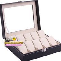 Wholesale 10Girds Watch leather Boxes Bracelet Bangle Holder Box luxury Jewelry Display Boxes Wrist Watch storage Box with Glass Hot The watch Case