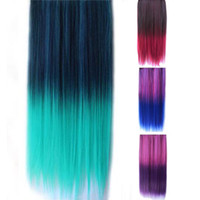 Wholesale S5Q Rainbow Women s Hair Wigs Extensions Straight Synthetic Clip In On AAACLT