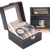 Wholesale couple Wrist Watch Box Bracelet Bangle Box luxury leather Jewelry Display Boxes Wrist Watch storage GIft Box with Glass The watch Case