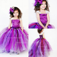 Wholesale Cute purple tulles ball gowns floor length sleeveless wedding flower girls dresses adorable gowns for kids baby birthday party BO