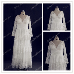 Wholesale Delicate V Neck Sheath Lace Wedding Dresses with Sheer Long Sleeve Appliques Vintage Real Sample Plus Size Garden Bridal Gowns