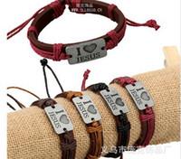 Wholesale MIX Color I Love JESUS Bracelets Leather Alloy ID Bracelet Religious Jewelry