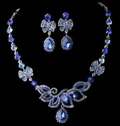 Wholesale Blue Shining Rhinestone Necklace Earring Set Rhinestone Wedding Jewelry Bridal Jewelry Set
