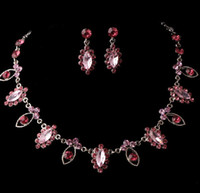 Alloy artificial necklace set - Pink Fashion bridal jewelry sets Luxury artificial rhinestone alloy plated necklace and earrings piece in