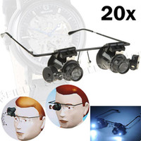 Wholesale 20X Double Layer Lens Magnification Glasses Type Watch Repair Magnifier with LED Light TH148685