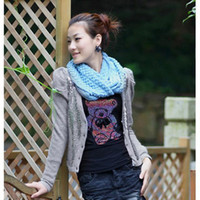 Wholesale S5Q Winter Warm Infinity Circle Cable Knit Cowl Neck Long Scarf Shawl Neckwarmer AAACQV