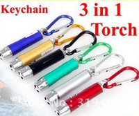 Red No No Mini 3 in 1 Bright LED Flash Light Infrared Laser Pointer Pen, Aluminium Key Chain Flashlight, Small Keychain Torch Light with Batteries