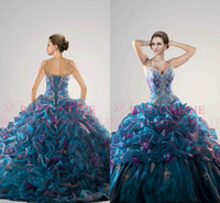 Wholesale 2014 Colorful Quinceanera Dresses Rainbow Summer Sweetheart Bridal Gown Beads Ball Gow Tiered Wedding Dresses Evening Dresses QC26644