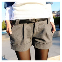 Wholesale women s turn up straight woolen bootcut short pants W3317