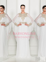 Wholesale 2014 Zuhair Murad Fashion Abaya Crew Long Sleeves Sheer Chiffon Prom Dresses Formal Dress Evening Dress Special Occsion Pageant Gown BO3486