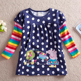 Wholesale 2014 new Girls Peppa Pig George Pig t shirt pure Cotton children long sleeve clothes