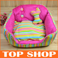 Wholesale Pet Supplies Dogs Kennel Large Cat Memory Foam Bed Colorful Strips Cotton Pad Dog Pillow Doggy Nest Heated Pet Beds JJ0040