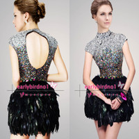 Wholesale Little Black Dresses Sexy High Neck Sequins Beads Crystals Feather Mini Short Elegant Cocktail Party Homecoming Gowns SH