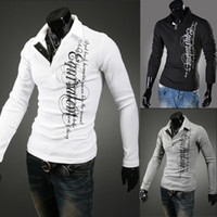 Men Long Sleeve 100% Cotton Free shipping New Men casual Printed long-sleeved polo shirt qjq527 M~XXL wholesale