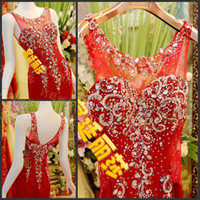 Wholesale Crystle Bead Scoop Sheath Long Formal Evening Dresses Red Luxury Sexy Party Prom Dress Bridal Gowns Exquisite
