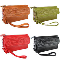 Wholesale Woman Real Leather Crocodile Lines Cosmetic Bag Wallets Coin Purse Handbag DR142 utility