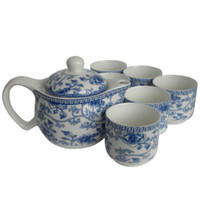 Wholesale Large Size Teapot Blue and White Ceramic Tea Sets Kung Fu Porcelain Tea Cup