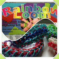 Wholesale Rainbow Loom Kit Tie Christmas Toys Magic DIY Rubber Bands Bracelets wrist Handmade Twists Educational For Kids Children Gift Colorful