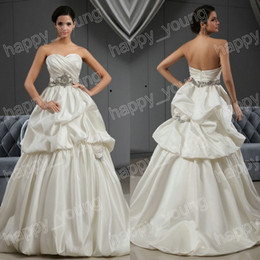 Wholesale Real Samples Wedding Dresses with Sweetheart Taffeta A line Wedding Gowns Chapel Train Dresses