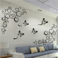 Wholesale Butterfly Feifei Vine Flowers Wall Stickers Decal Art Mural Removable Home Decor