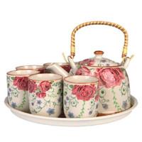 Wholesale 7 pieces Tea Set The New Jingdezhen Ceramics Large Size Porcelain Rose Teapot