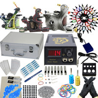 3 Guns Professional Kit tattoo kits USA Dispatch Professional complete Hot 3 Machine Guns Tattoo Kit Power Supply Needles Grips Tips Inks Equipment Set