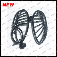 Wholesale 2013 newest Male Side Entrance Black Twist Stainless Steel Seed Pod Chastity Cage sex toy