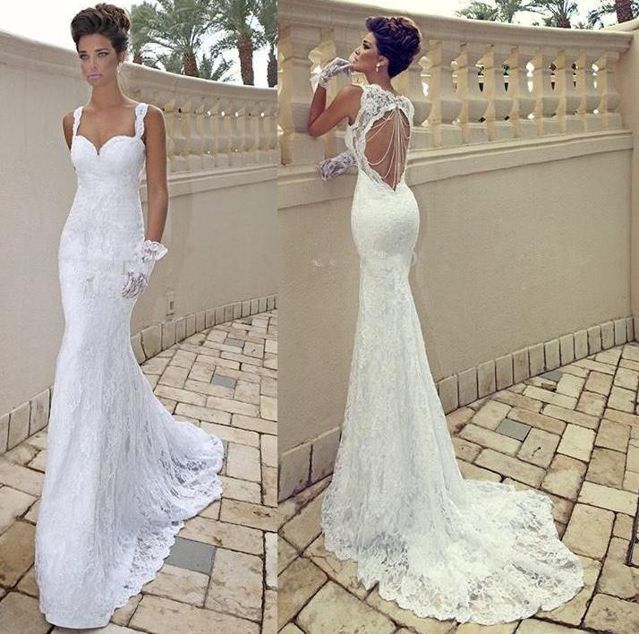 2015 cheap sexy spaghetti straps sweetheart ivory lace for Fitted lace wedding dress with open back