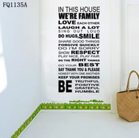 Wholesale Family House Rules Quote WALL STICKERS REMOVABLE HOME DECAL Art Vinyl DECOR