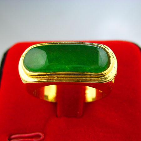 Gold ring men do not fade female inlaid jade 18k gold for Does gold plated jewelry fade