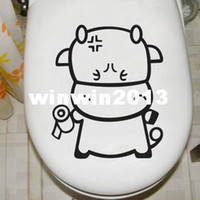 Wholesale Cartoon toilet stickers glass stickers cabinet door wall stickers
