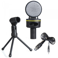 Wholesale 3 mm Wired Condenser Microphone Mic with Tripod for PC Laptop Computer Skype MSN Karaoke