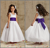 Wholesale DL1309246 Princess Ruffle Jewel Neck Bow Sash Ball Gown Ankle Length Organza Little Flower Girl Dress