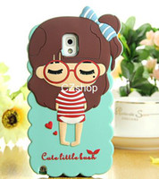 For Samsung Silicone Case 3D Cute Beautiful Girl Soft Silicone Lovely Bush Little Girls Back Cover Case For Samsung Galaxy Note 3 III N9000 Free Shipping