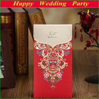 Invitation Cards Folded Red 50sets Luxurious Colorful Floral Wedding Invitation Card in red Personalized Printing Wedding Envelope & Seal Free Shipping