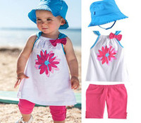 Wholesale Hip hop cat suit girls suit beach Suspenders baby clothes set