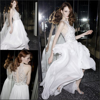Wholesale 2014 New Sheath Silk Chiffon Flowing Sheer Halter Top Custom White Sliver Sequin Embroidery Beaded Lace Wedding Gown Bridal Dress BRI