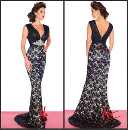 Wholesale 2014 New Sexy V Neck Lace Mermaid Evening Dresses Beaded Waistband Ruffles Sleeveless Floor Length Mother Of The Bride Gowns R
