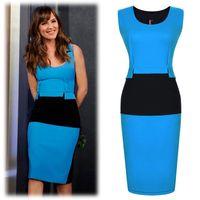 Casual Dresses women dress drop ship - Women Blue Black Patchwork Cocktail dress for Office lady Women Clothing DK7072Q Drop ship