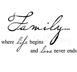 Wholesale Family where life begins and love never ends quot h x quot w vinyl lettering wall sayings art decor decal sticker word