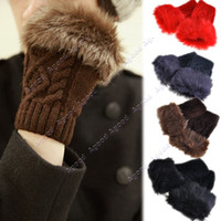 Wholesale Fashion Unisex women men Winter Warm Fur Gloves Knitted Fingerless Gloves